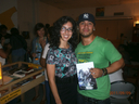 Me with a satisfied customer, Catarina Rivera (Co-founder of Healthy Kinds in the Heights)